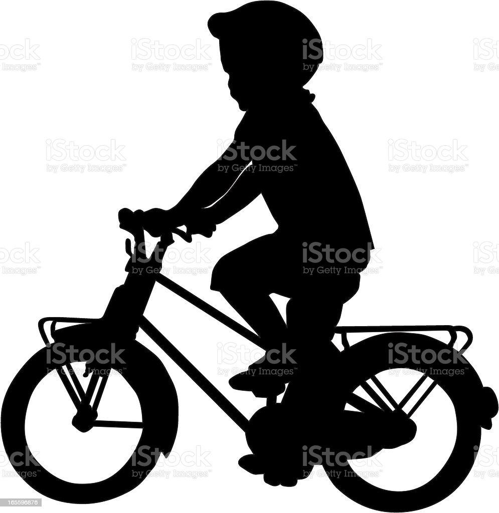 Girl On A Bike vector art illustration
