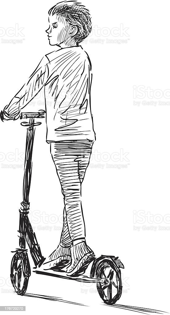 girl on a scooter royalty-free stock vector art