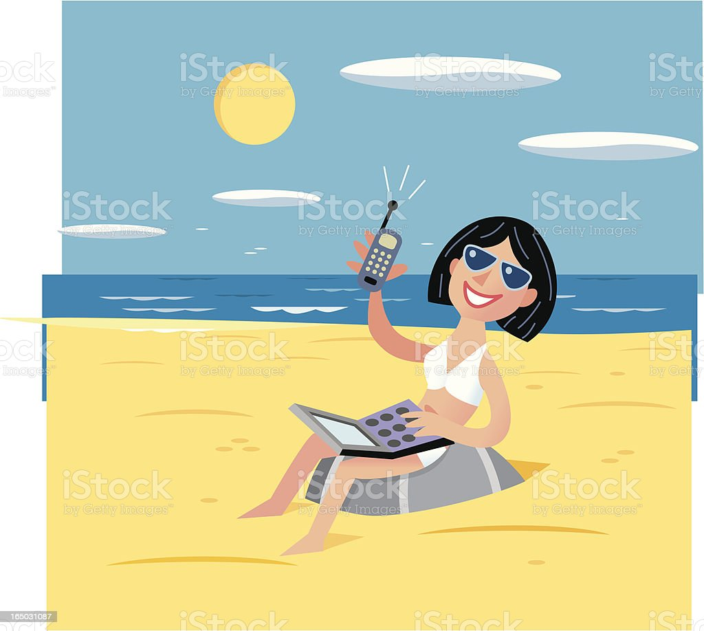 Girl on Beach with Laptop and Cell Phone vector art illustration