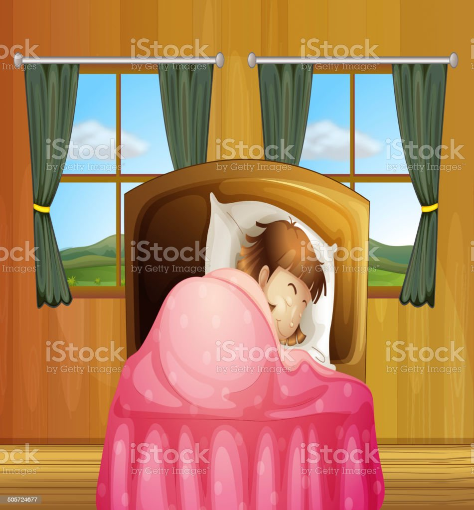 Girl on bed royalty-free stock vector art