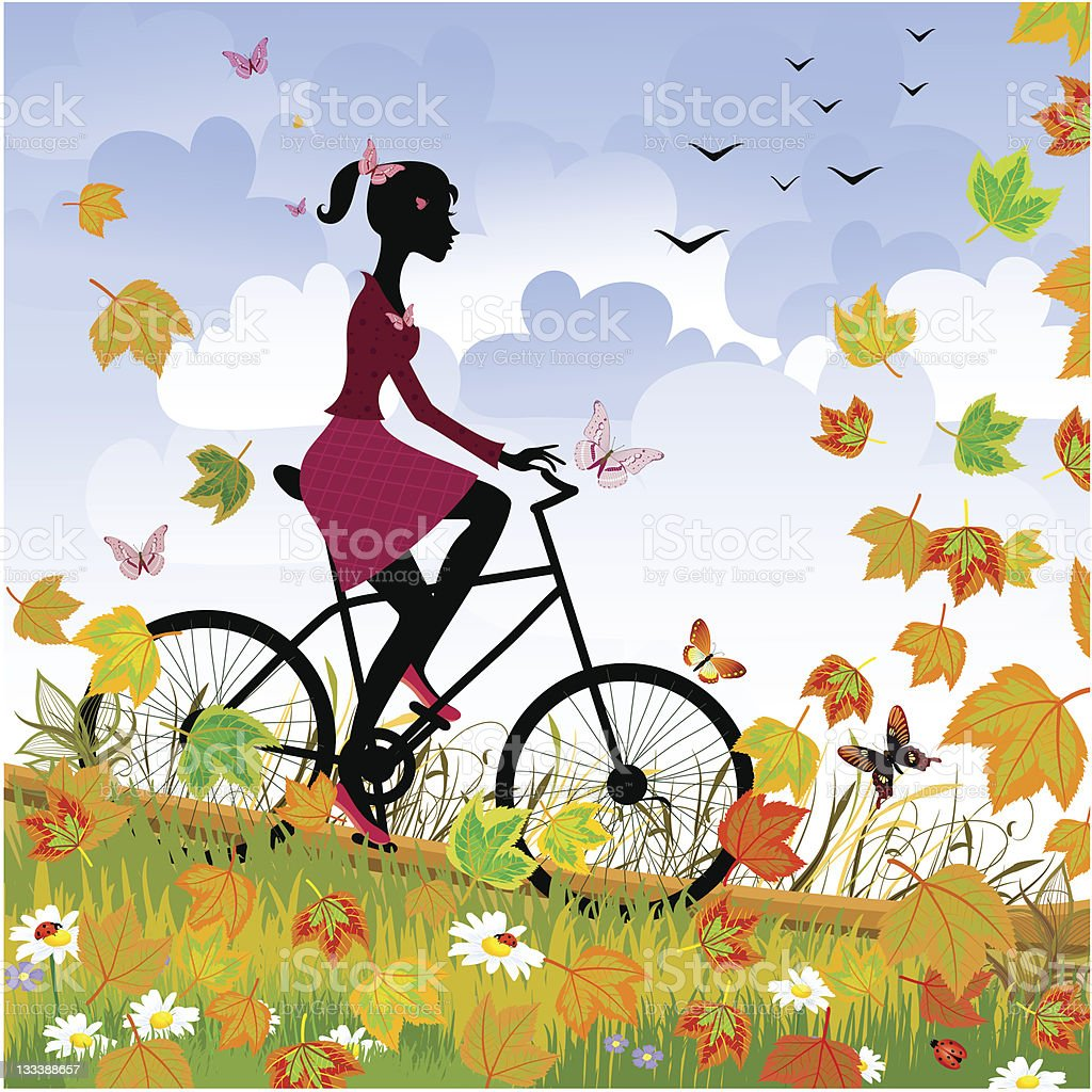 Girl on bike outdoors in autumn royalty-free stock vector art