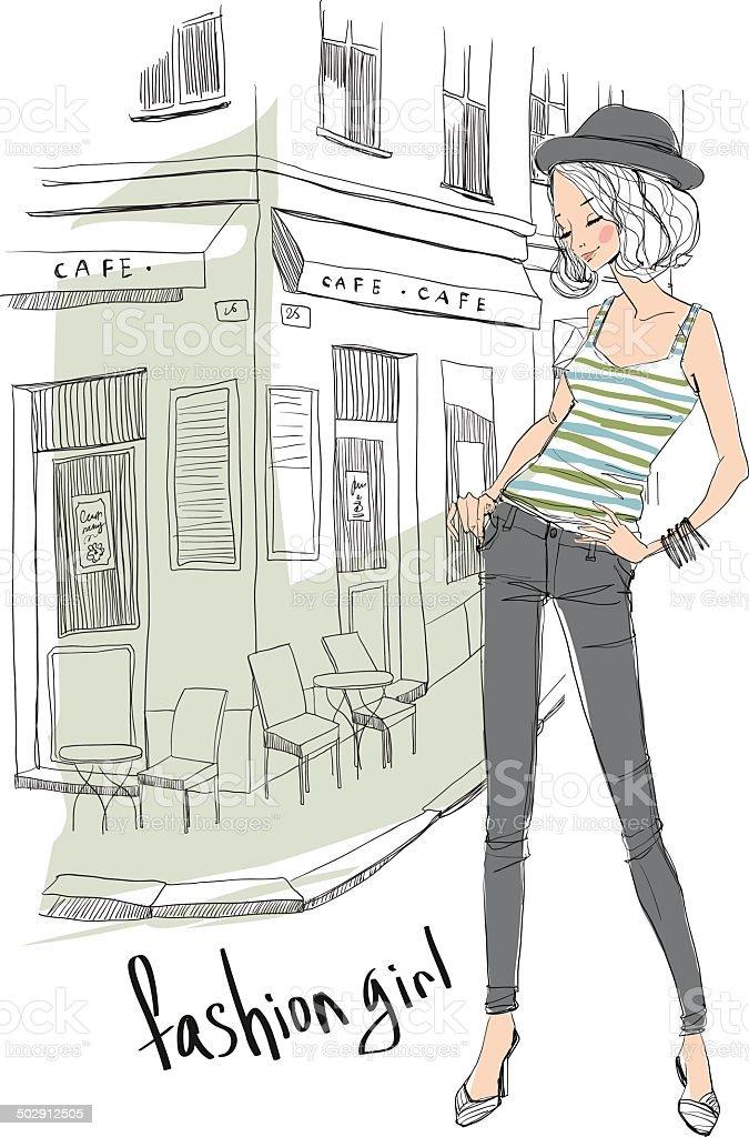 girl on city royalty-free stock vector art