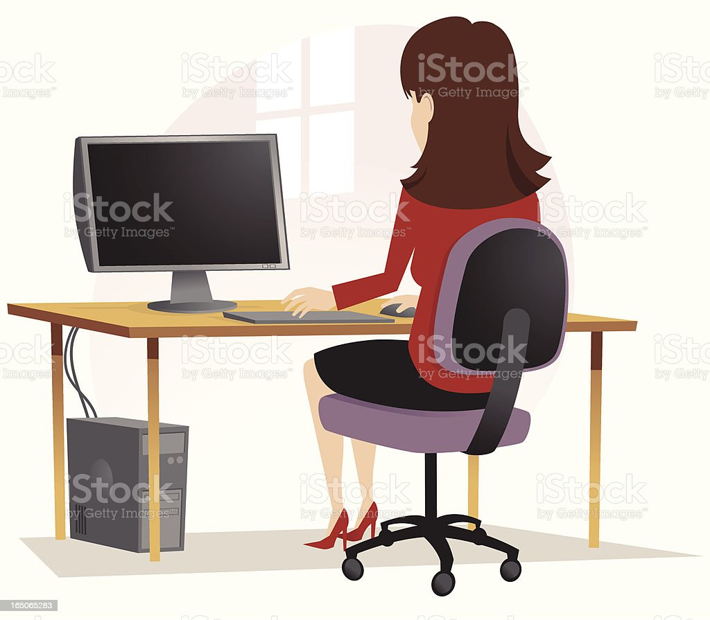 Girl on computer at desk vector art illustration