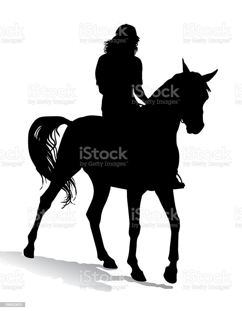 Girl on horse 3 royalty-free stock vector art