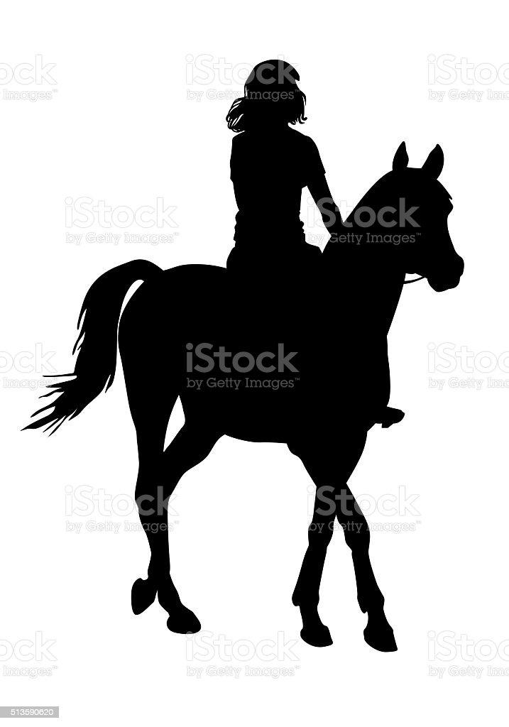 Girl on horse vector art illustration
