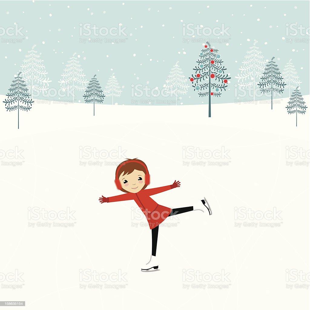 Girl on ice skating rink vector art illustration