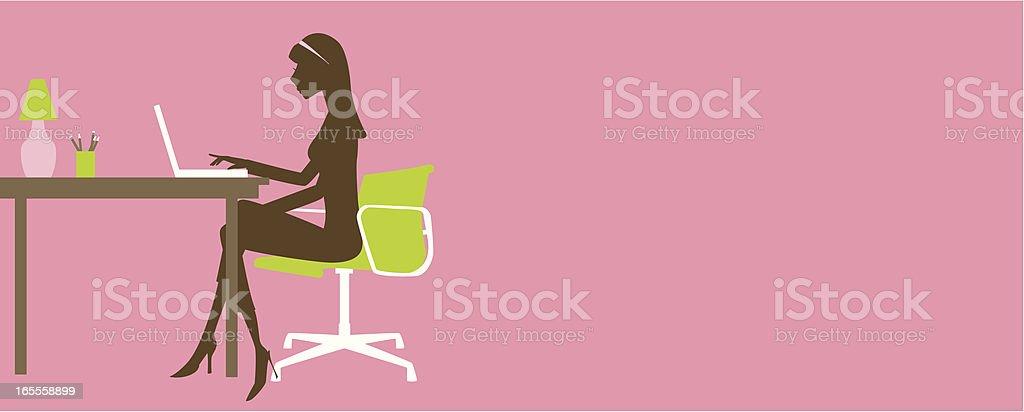 Girl on Laptop vector art illustration