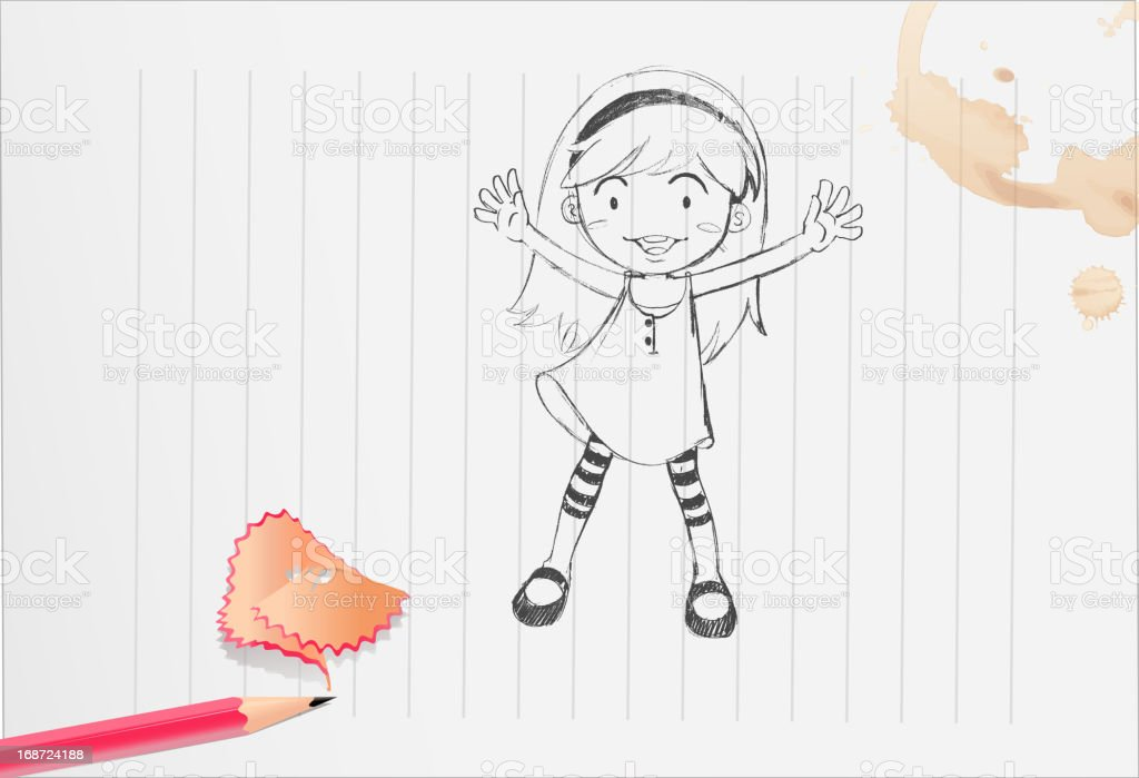 Girl on paper royalty-free stock vector art