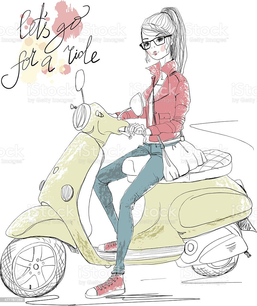 Girl on scooter royalty-free stock vector art