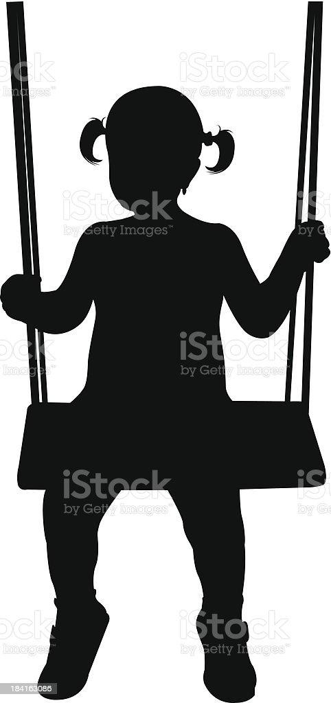 girl on swing vector art illustration