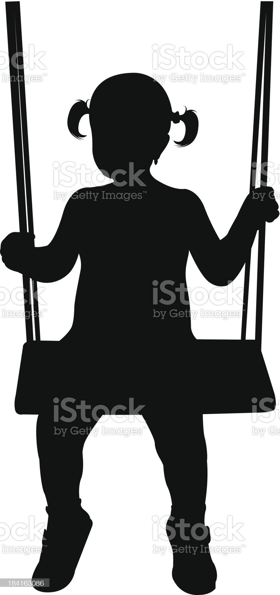 girl on swing royalty-free stock vector art