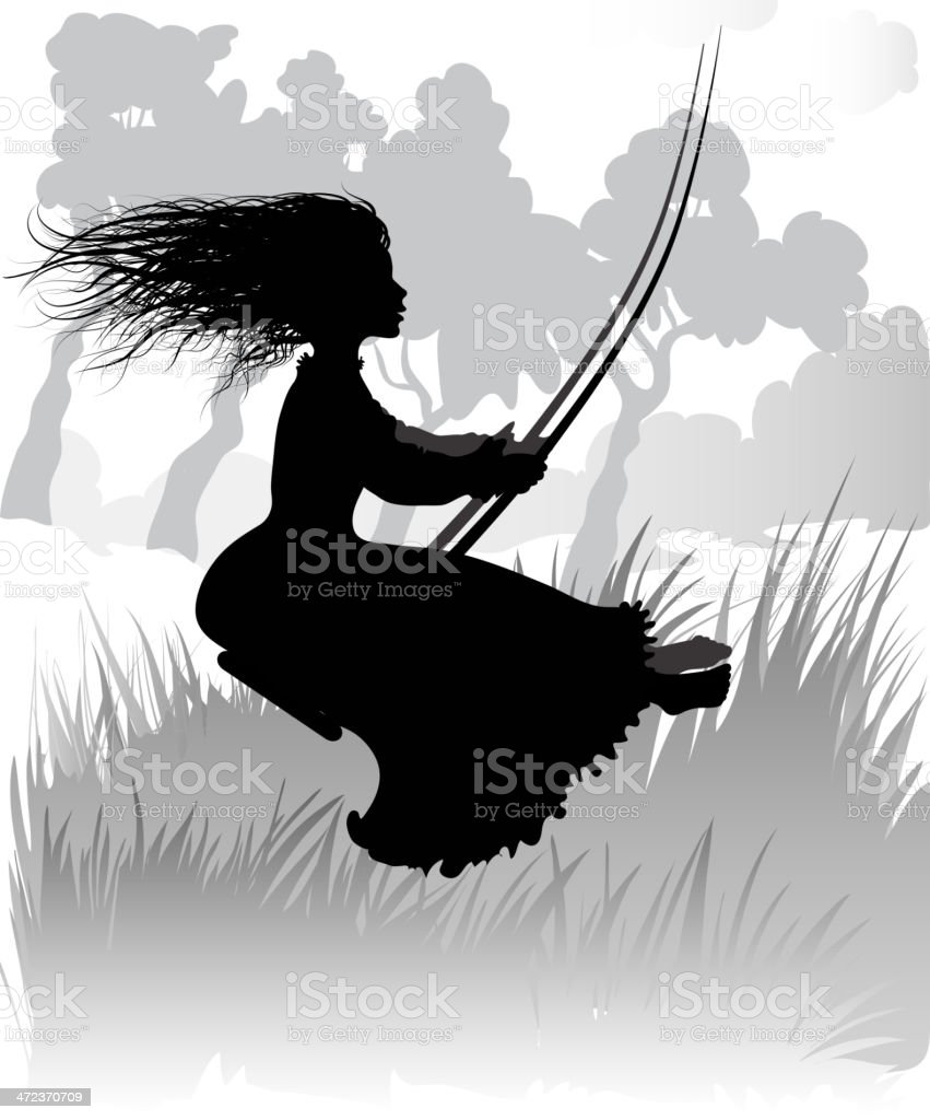 Girl on swing with black silhouette vector art illustration
