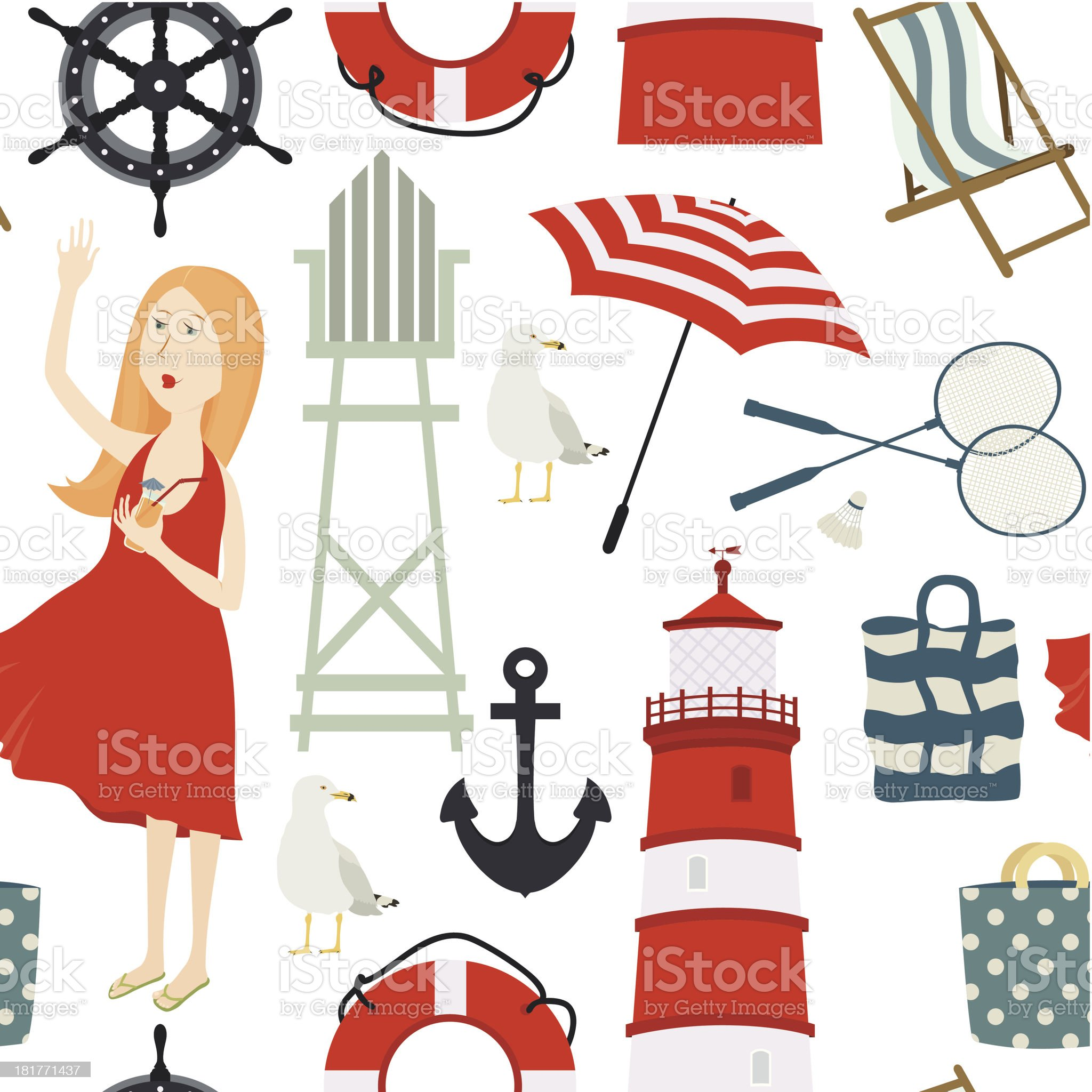 Girl on the beach background royalty-free stock vector art