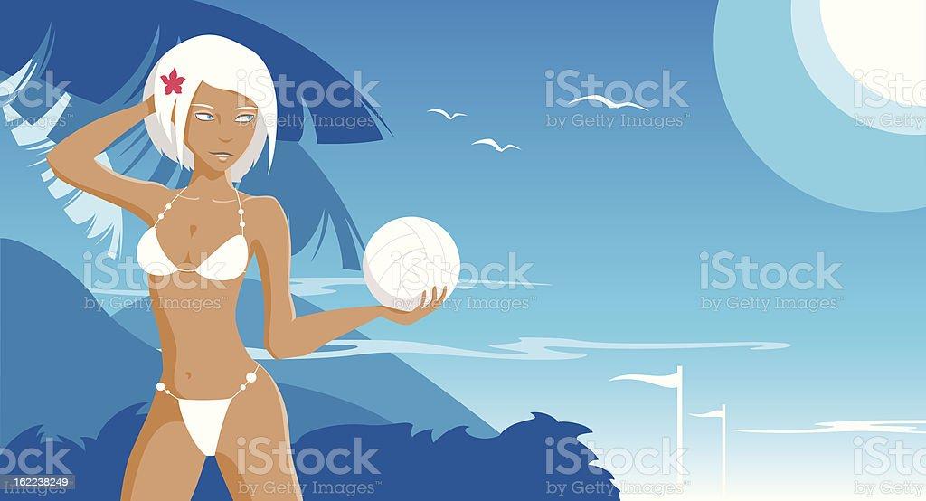 Girl on the beach royalty-free stock vector art