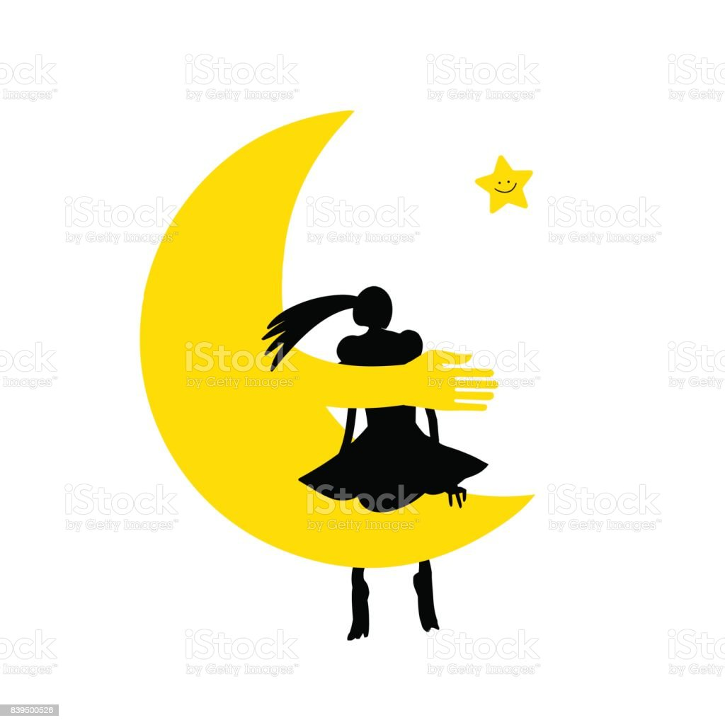 Girl on the moon and smiling star. vector art illustration