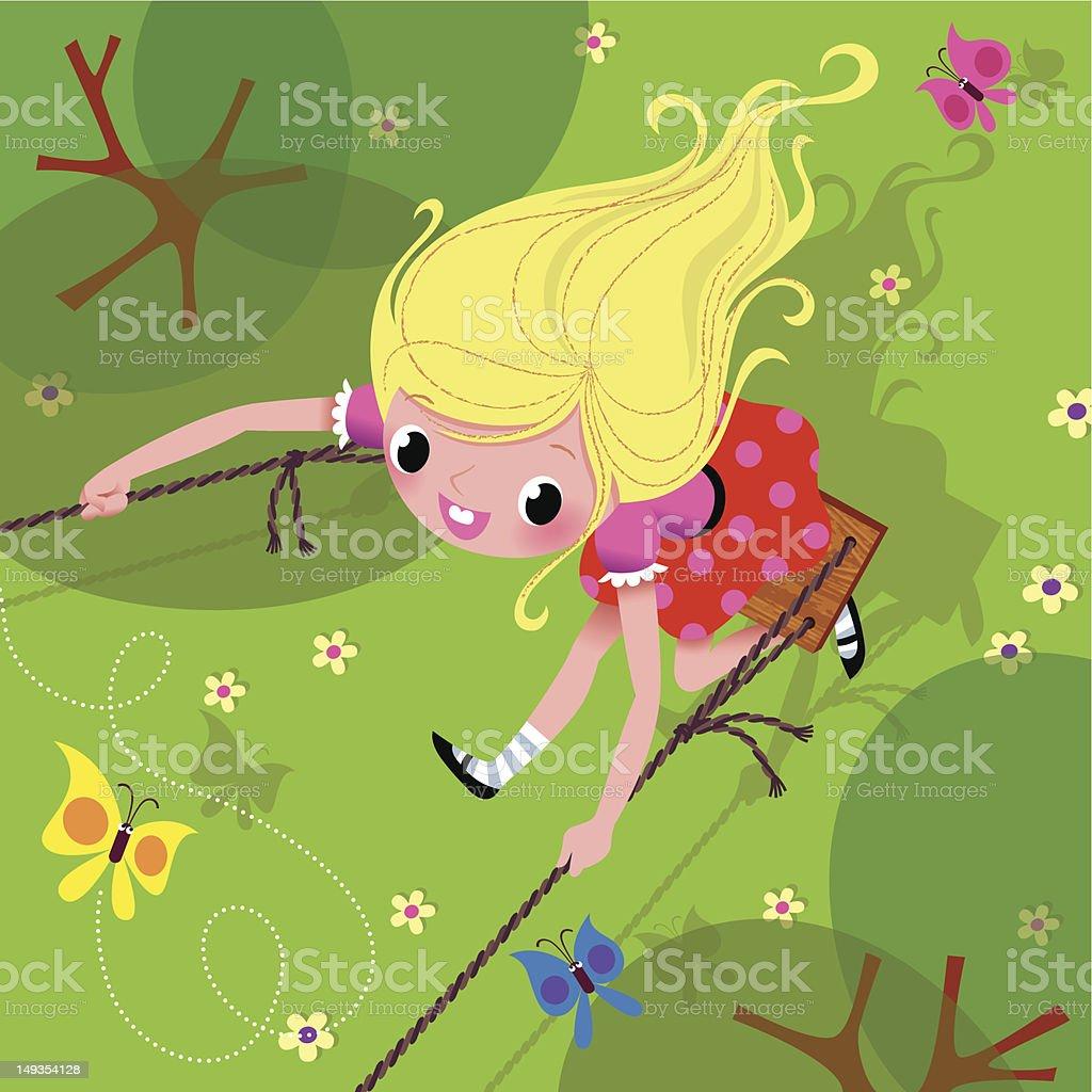 Girl on the Swing. royalty-free stock vector art