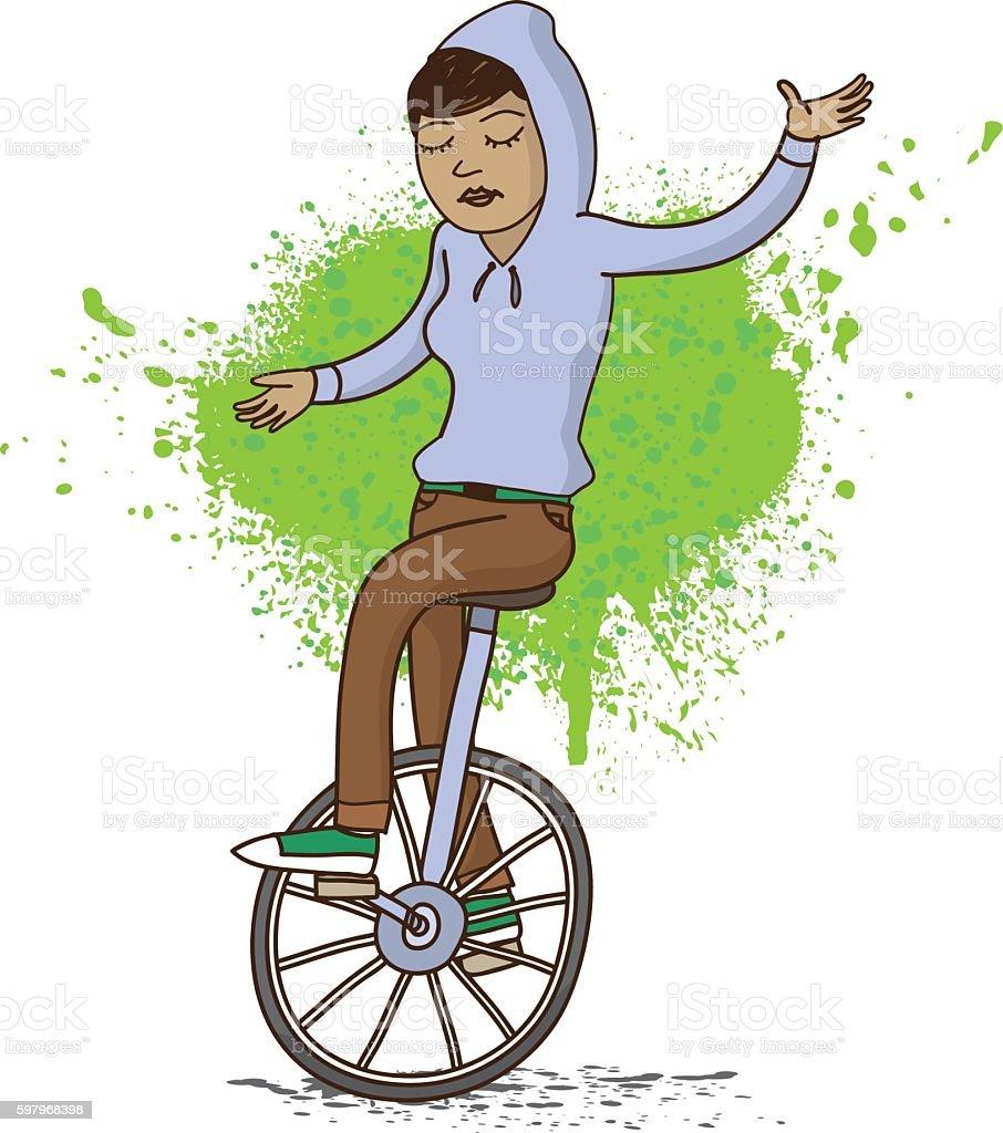 Girl on Unicycle Illustration vector art illustration