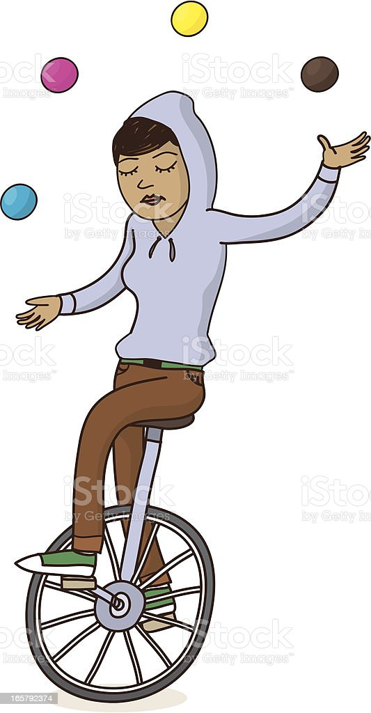 Girl on Unicycle Juggling vector art illustration