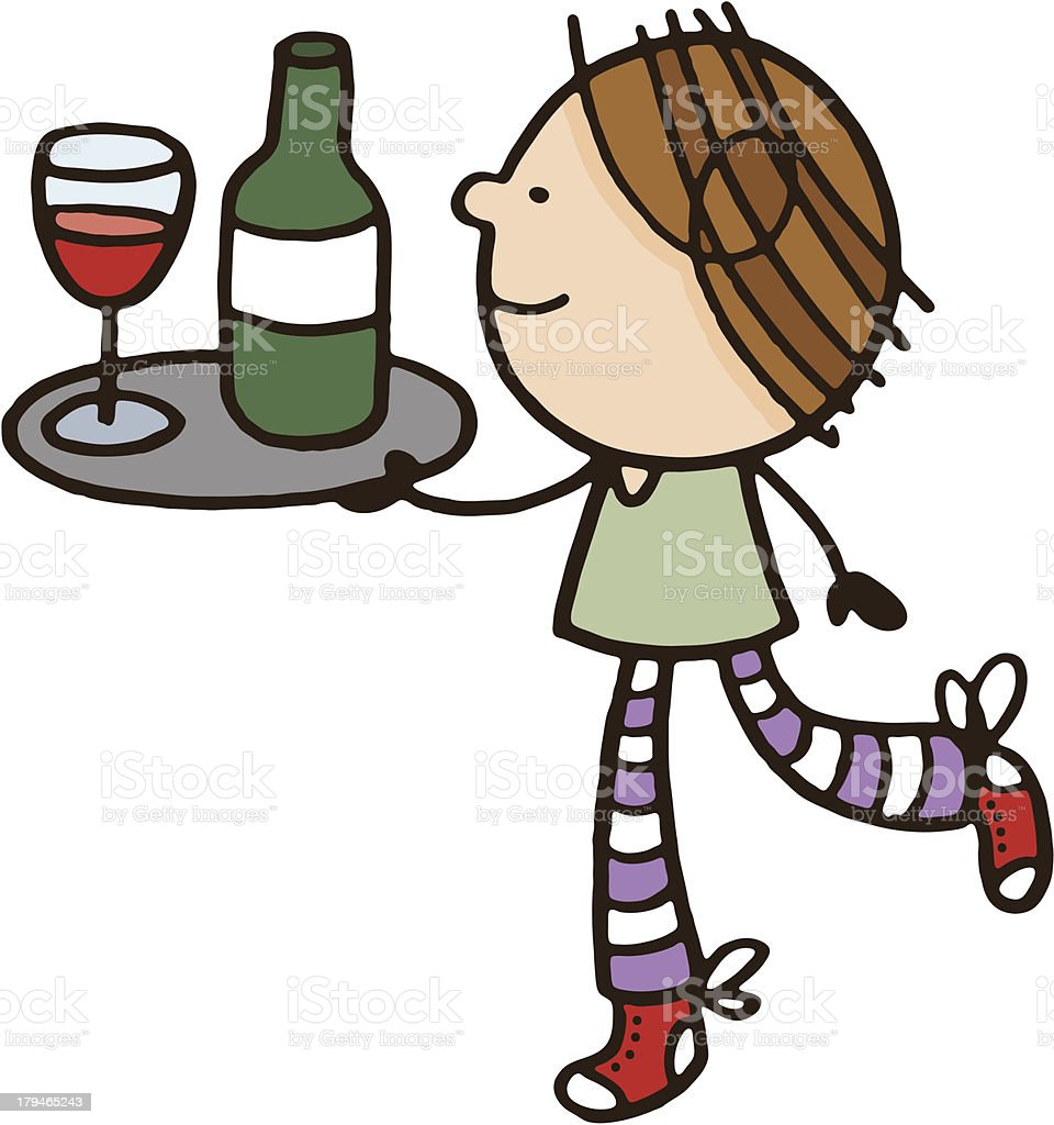 Girl or woman holding a tray with wine and glass vector art illustration