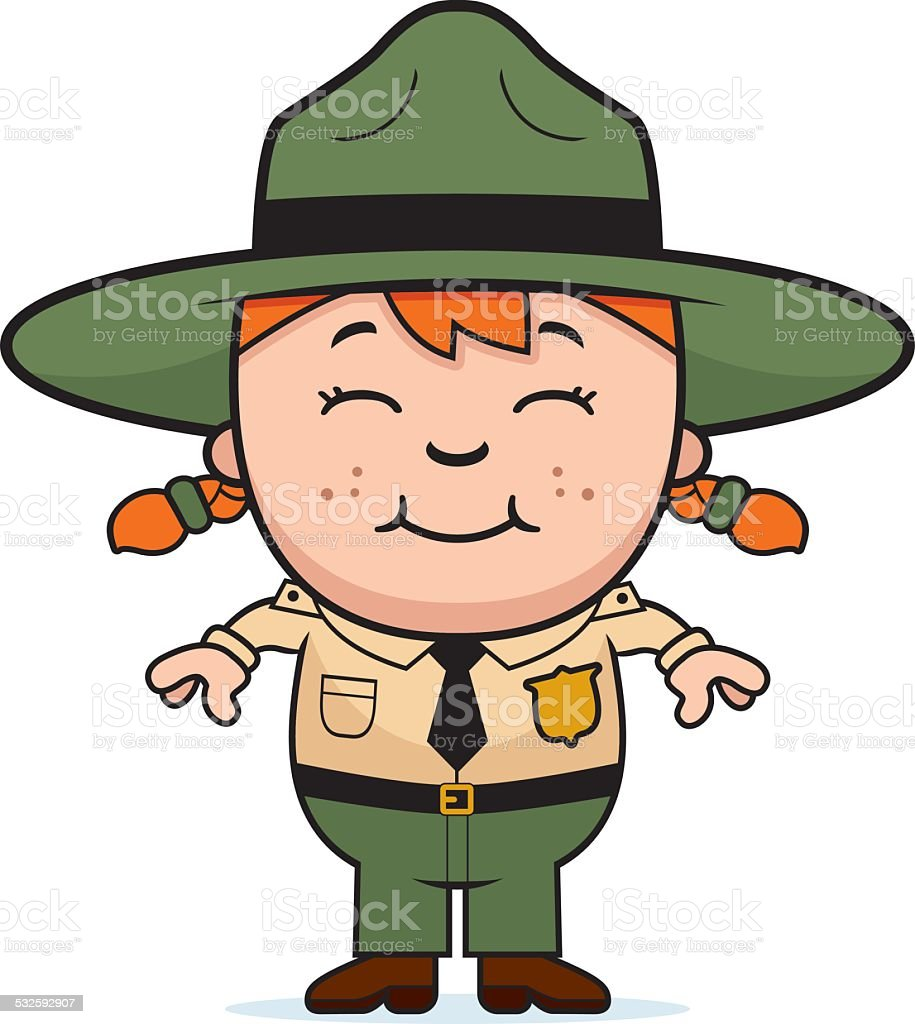 Girl Park Ranger vector art illustration
