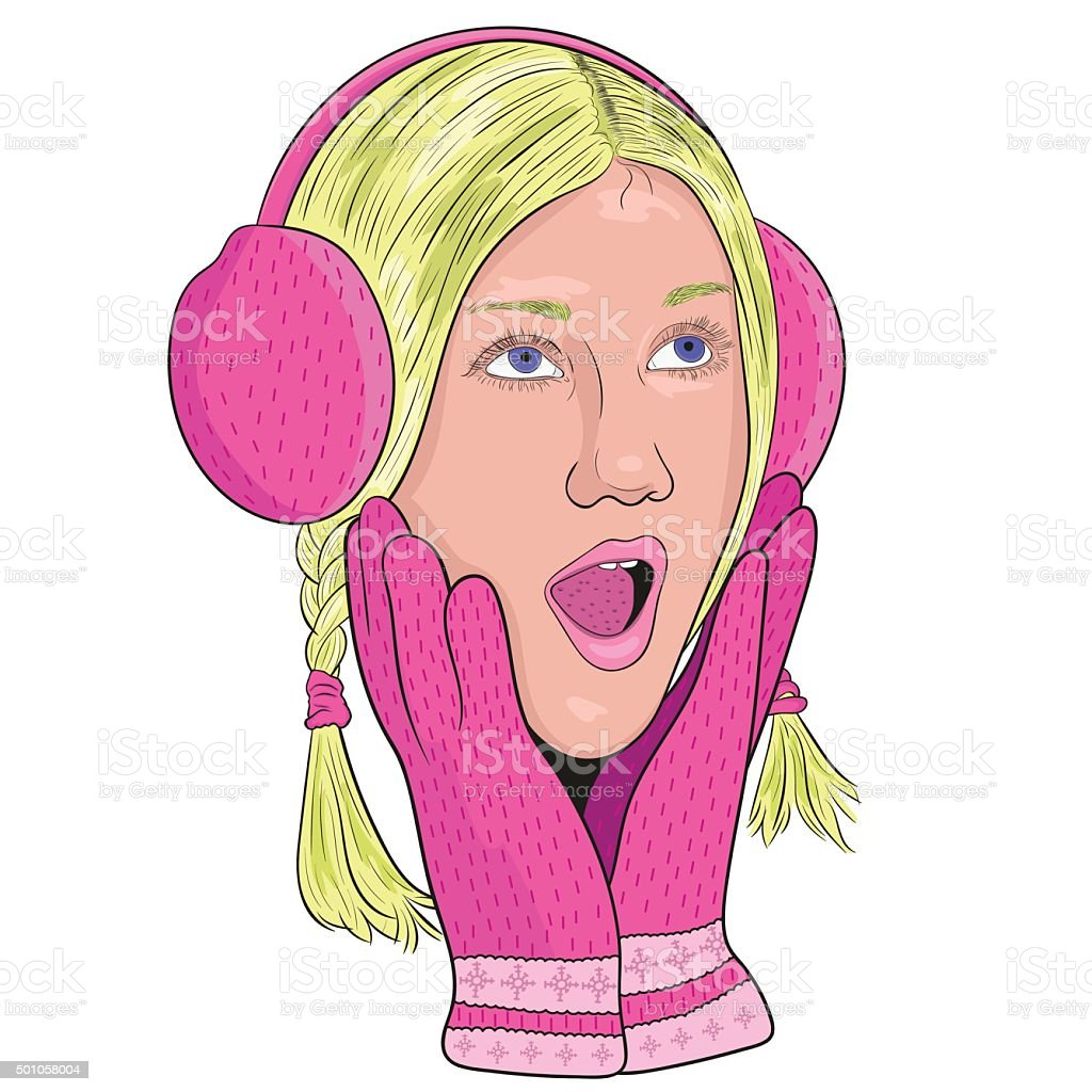 girl pink headphones and gloves from surprise opened his mouth. vector art illustration