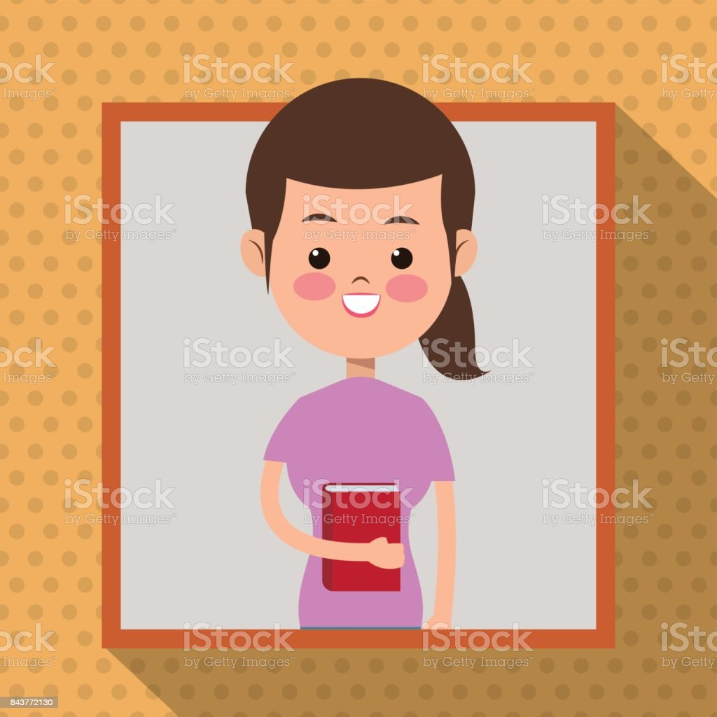 Girl Pink Shirt Book Student Frame Dot Shadow Background stock ...