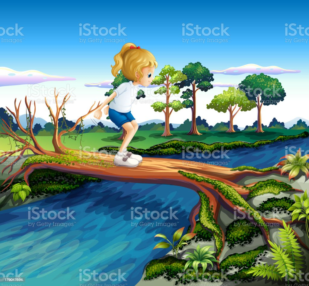 Girl playing above the trunk royalty-free stock vector art