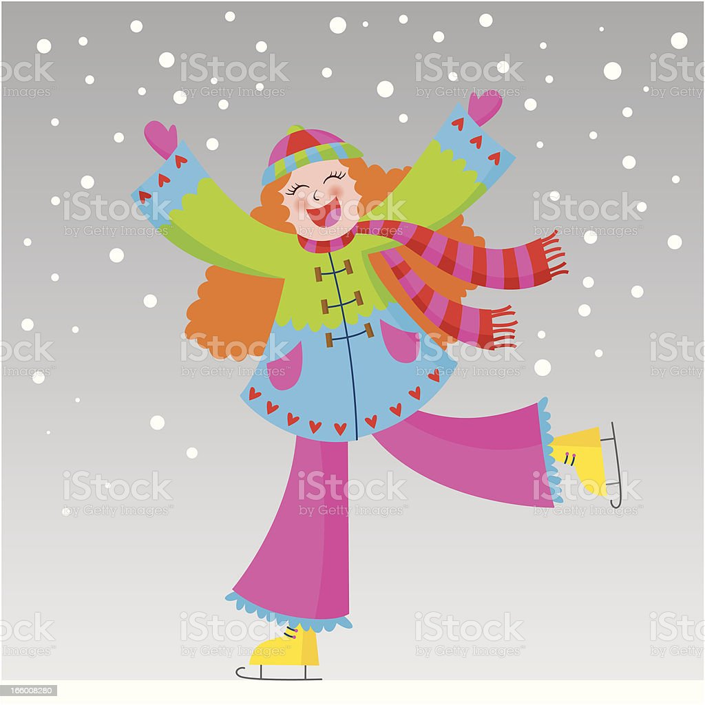 girl playing in the snow royalty-free stock vector art