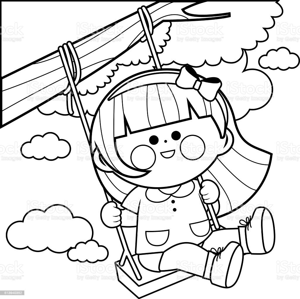 playing on a tree swing coloring page stock vector art