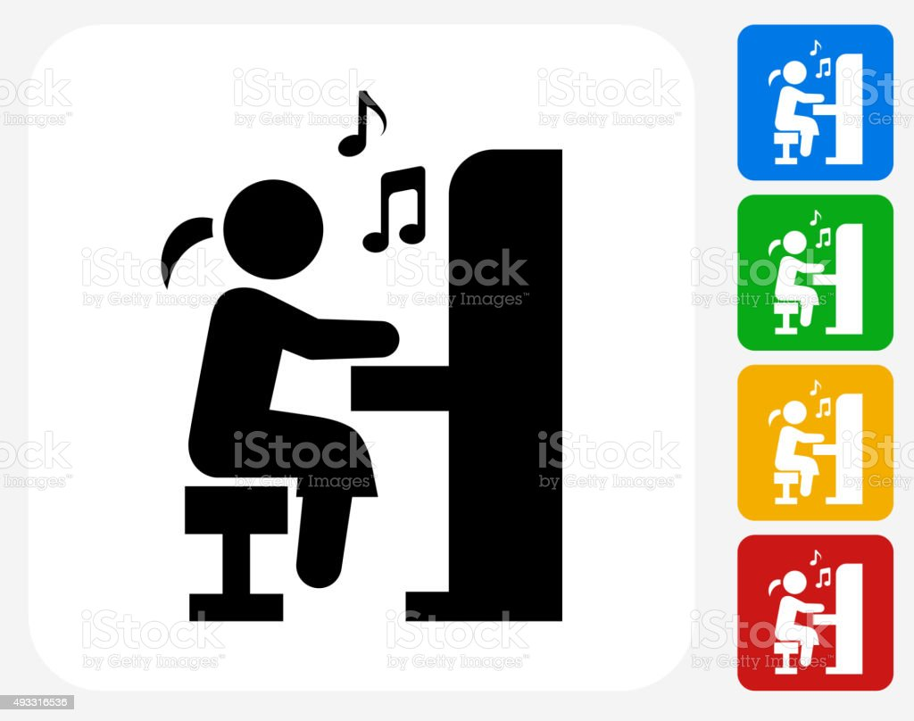 Girl Playing Piano Icon Flat Graphic Design vector art illustration