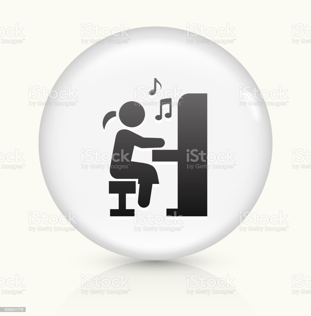 Girl Playing Piano icon on white round vector button vector art illustration