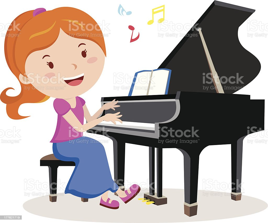 Girl playing piano. Pianist. royalty-free stock vector art