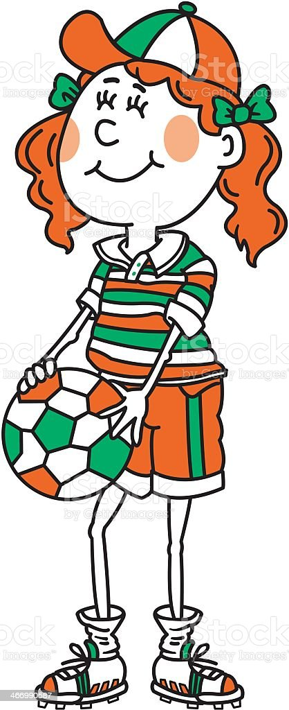 Girl Playing Soccer royalty-free stock vector art