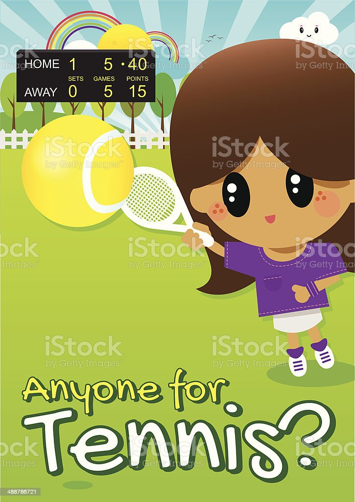 Girl Playing Tennis in Park with Score Board in Distance vector art illustration
