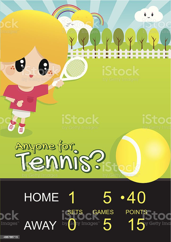 Girl Playing Tennis in Park with Score Board vector art illustration