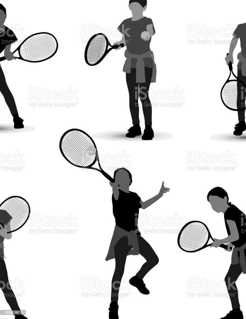 Girl playing tennis royalty-free stock vector art
