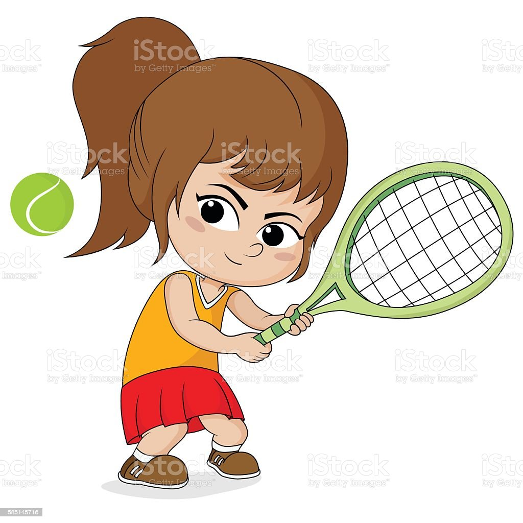 girl playing tennis. stock vecteur libres de droits libre de droits