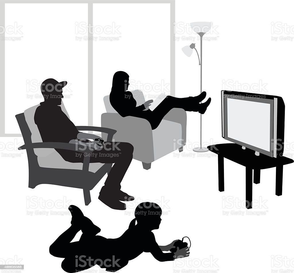 Girl Playing Video Games With Her Dad vector art illustration