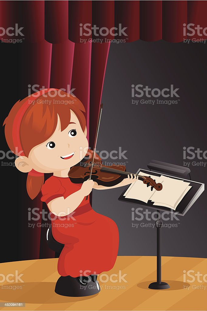 Girl playing violin royalty-free stock vector art