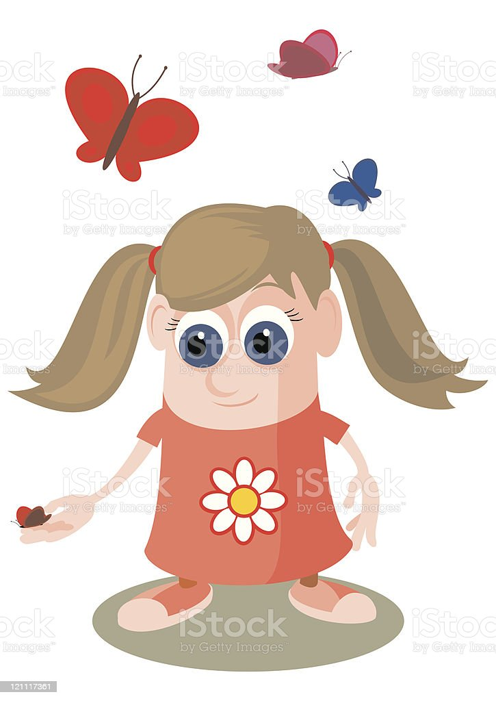 Girl playing with Butterflies vector art illustration