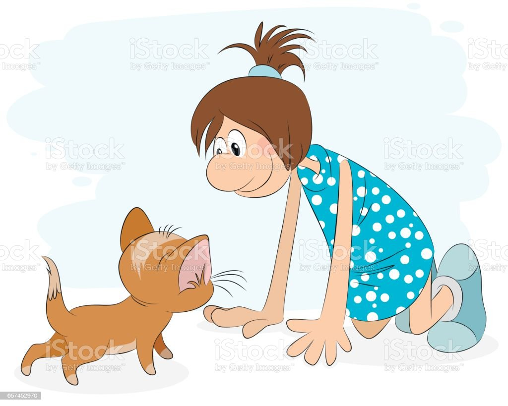 Girl playing with cat vector art illustration