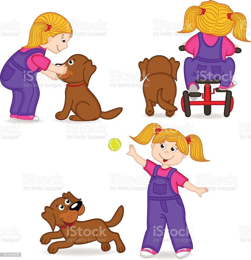 girl playing with dog vector art illustration