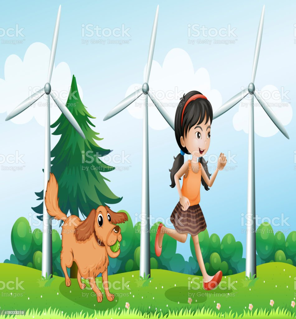 Girl playing with her dog near the windmills royalty-free stock vector art
