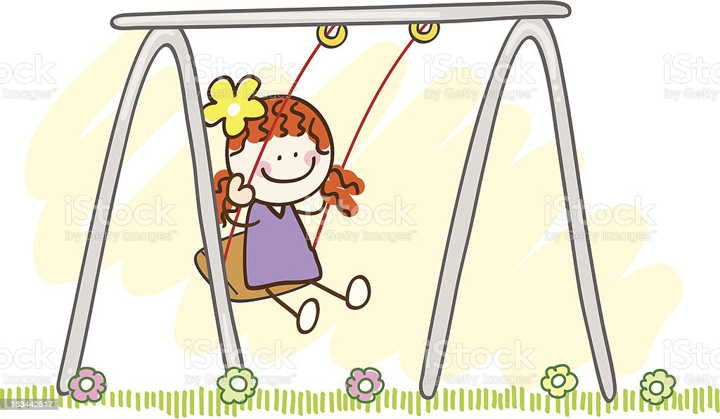 Girl Playing With Swing Cartoon Illustration stock vector ...