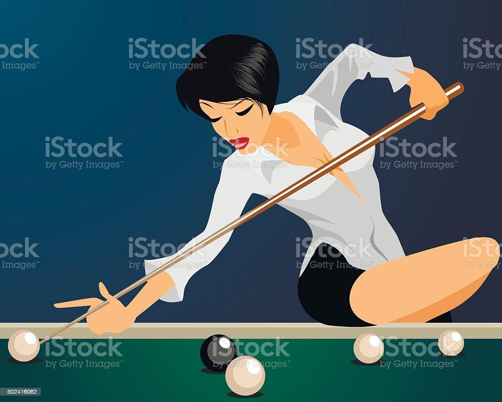 Girl plays billiards vector art illustration