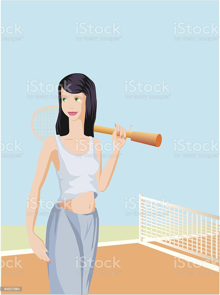 Girl plays tennis. vector art illustration
