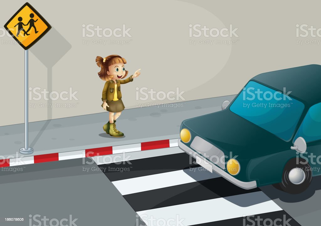 girl pointing at car near the pedestrian lane royalty-free stock vector art