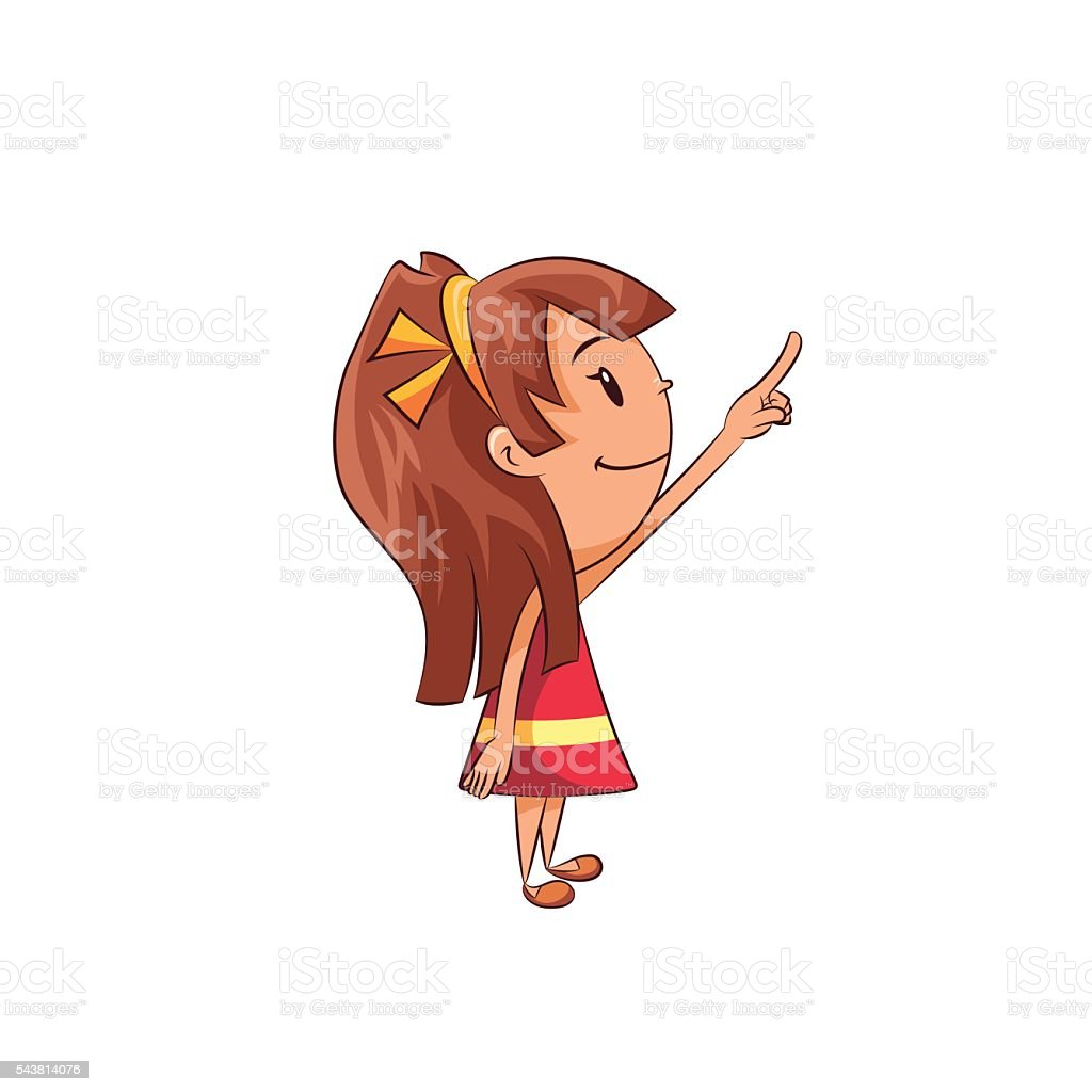 Girl pointing up vector art illustration