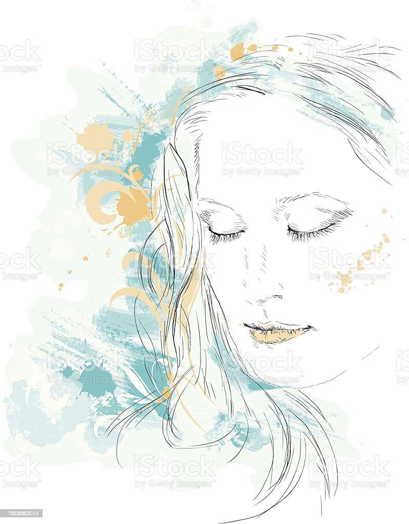 Girl portrait vector art illustration