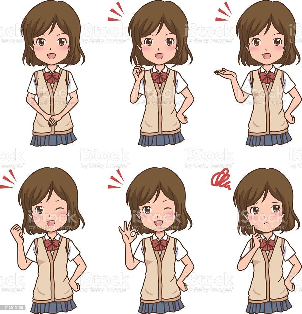 girl pose vector art illustration